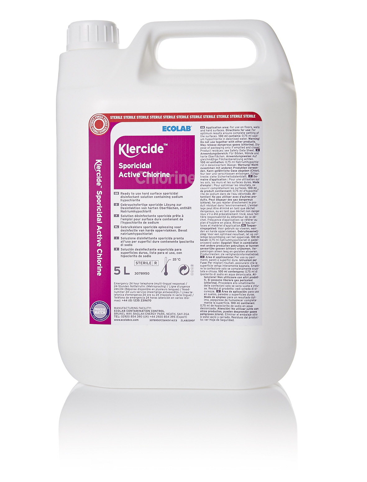 Klercide sporicidal active chlorine sterile 4x5l capped for Active salon supplies
