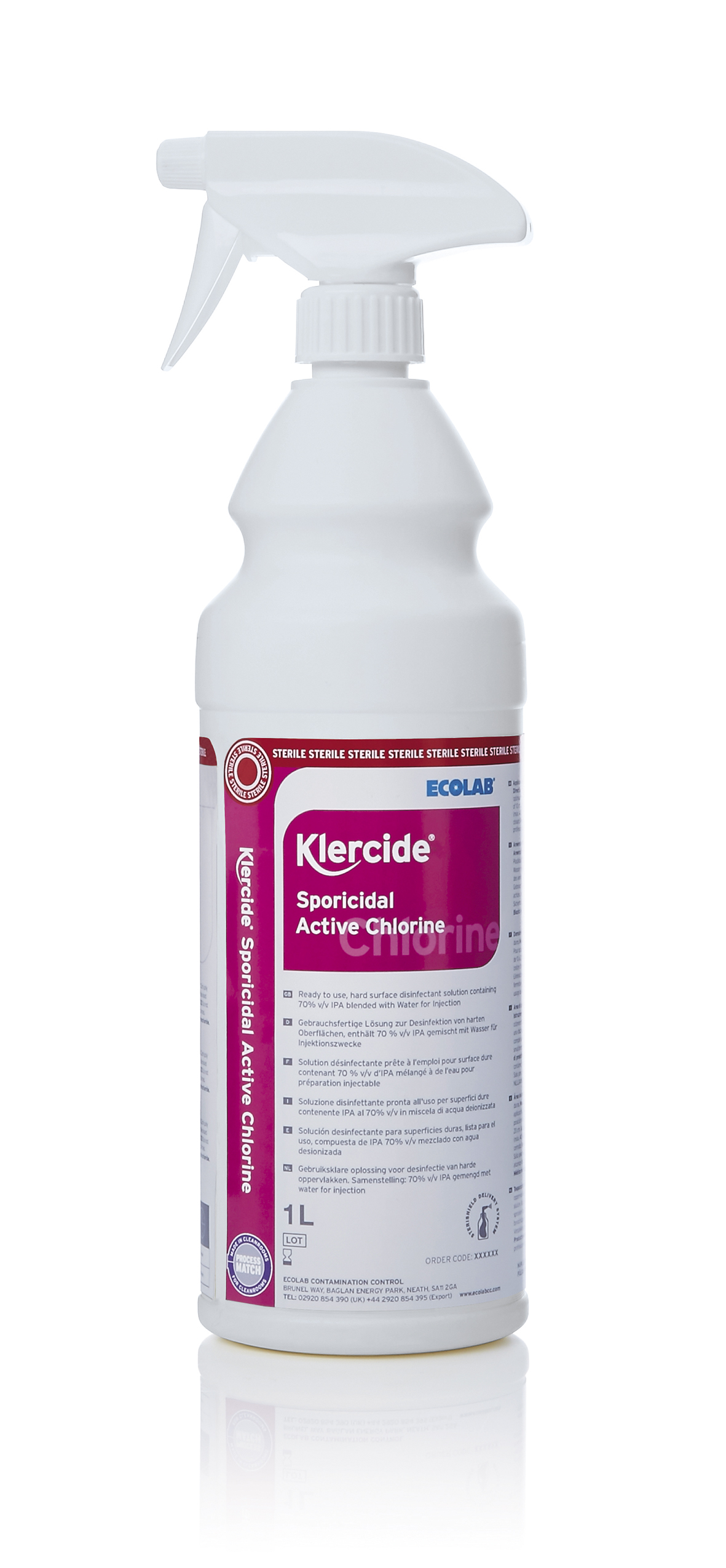 Klercide sporicidal active chlorine sterile 6x1l spray for Active salon supplies